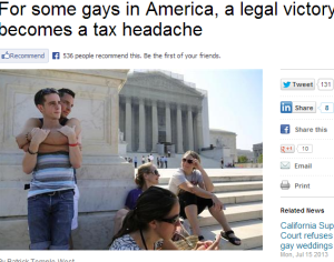 Reuters article - DOMA and taxes 7-23-13